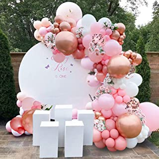 143Pcs Girl's Birthday Pink and Rose Gold Confetti Different Size Balloons Garland Kit Dark and Baby Pink Latex Balloons G...