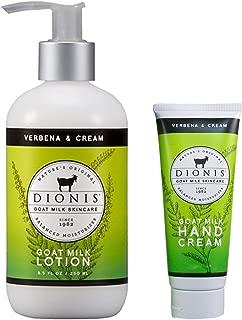 Dionis Goat Milk Body Lotion and Hand Cream Gift Set (Verbena & Cream, 2 Piece)
