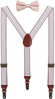 BODY STRENTH Boys' Men's Suspenders with Bow Tie Adjustable and Elastic Y Shape