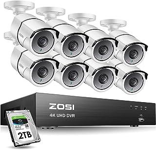 ZOSI 4K Kit de Cámara de Vigilancia 8MP Grabador DVR con 8pcs Cámara Bala de Seguridad Exterior 2TB Disco Duro