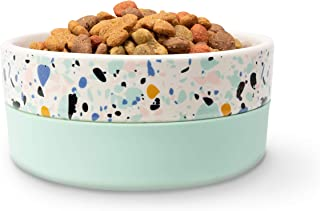 Jonathan Adler: Now House Mint Terrazzo Duo Bowl Medium   Dishwasher Safe, Easy to Clean Dog Bowl with Anti-Skid Lid   Dua...