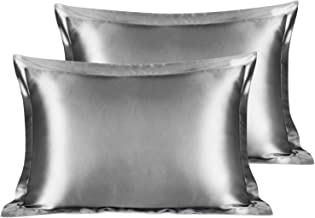YANIBEST Satin Pillow Shams Set of 2 for Hair and Skin-Standard Size (20x26 inches) Pillow Cases-Super Soft Satin Pillowcase Covers with Envelope Closure,Grey