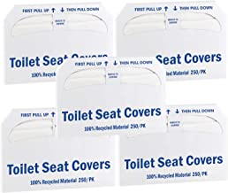 [5 Pack - 250 Each] Disposable Paper Toilet Seat Cover Flushable Kids Toddler Potty Training Half Fold Seat Protectors in Cardboard Box Dispenser - for Public Restroom Travel Men Women Adults