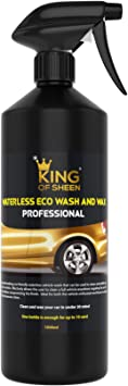 King of Sheen, Professional Waterless Wash and Wax Car Cleaner, No Water Just Clean and Shine Like New, Car Cleaning liquid spray car wash, Showroom Shine finish: image