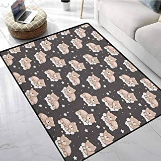 Kids Floor Mat Pattern 6x9 ft Adorable Teddy Bears Sleeping on Clouds with Stars and Dots Night Time Dream Indoors Bathroom Mats Non Slip