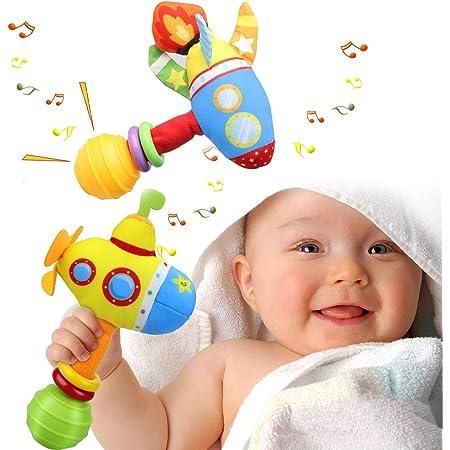 aovowog Sonajeros Juguetes Bebés 3 6 9 12 Meses,Montessori Muñeca de Peluche Felpa 1 2 Años,Vistoso Submarino Cohete Instrumentos Musicales Sentido Regalo Niños Niñas(2 Pack)