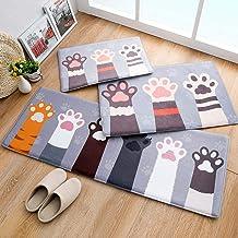 ESUPPORT Extra Long Cartoon Floor Mat Flannel Kitchen Bathroom Absorbent Non Slip Bath Rug, Kitten Paw