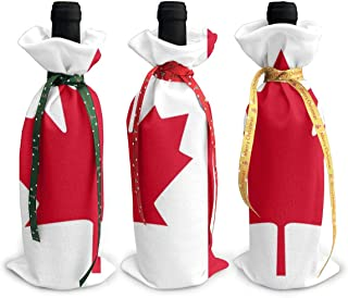 Flag Of Canada Christmas Wine Bottle Cover Red Wine Gift Bags Champagne Xmas Home Dinner Party Table Decoration