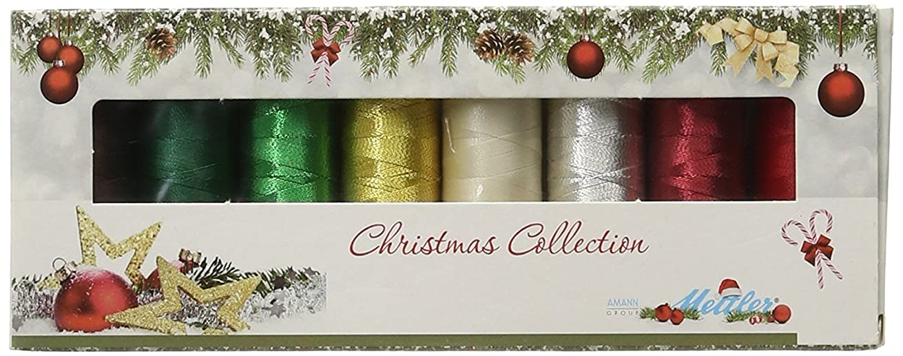 Mettler Thread Poly Sheen and Metallic Sewing Set; 8 Spools CHRISTMAS Color Collection