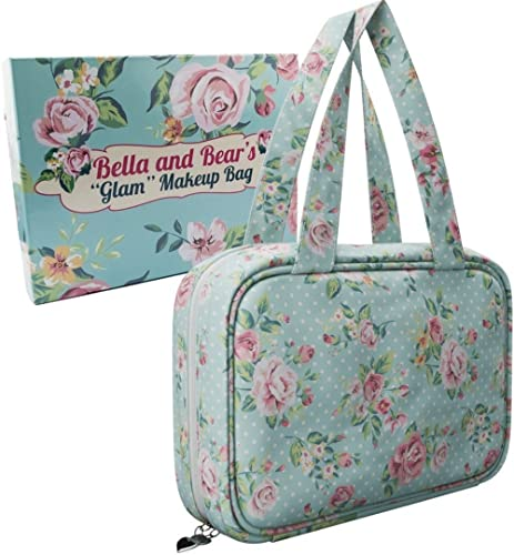 Bella and Bear - Makeup Bag With Pretty Floral Print - Waterproof Toiletry Case For Cosmetics - Travel Organiser - Mu...