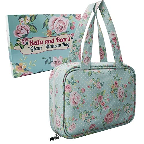 4a3c10790887 Bella And Bear Hanging Toiletry Bag For Women - Cute Cosmetic Bag With  Carry Handles And