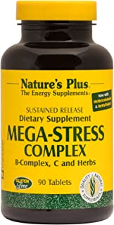 NaturesPlus Mega-Stress Complex, Sustained Release - 90 Vegetarian Tablets - B Complex, Vitamin C Stress Relief Supplement, Chamomile & Herbs for Natural Calm - Gluten-Free - 90 Servings