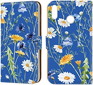 [FFANY] HUAWEI nova lite 3 (POT-LX2J) ケース 手帳型 ミラータイプ [ボタニカル・ブルー] 花柄 フローラル ノバライトスリー スマホケース 携帯カバー floral-077@06m