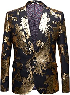 dafb53bf0a59 Mens Slim Fit Hot Stamping Notched Lapel Floral Printed Suit Dinner Jacket  Blazer