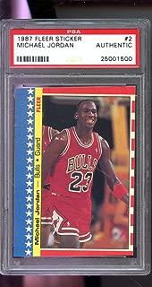 1987-88 Fleer Sticker #2 Michael Jordan Bulls PSA AUTH Graded Basketball Card