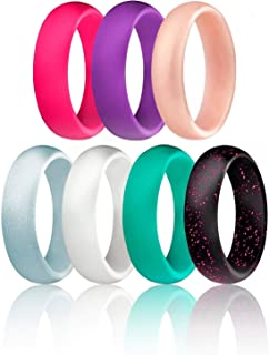 Silicone Wedding Ring for Women, Affordable Silicone Rubber Wedding Bands, 7 Packs, 4 Pack & Singles - Glitters & Metallic - Rose Gold, Silver, Pink, Black, Blue