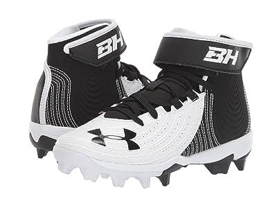 Under Armour Kids Harper 4 Mid RM Baseball (Little Kid/Big Kid) (Black/White) Kids Shoes