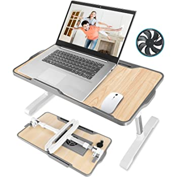 Laptop Desk for Bed, JZBRAIN Adjustable Laptop Lap Desk with Large Cooling Fan, Foldable Standing Wide Laptop Desk for Working, Studying, Reading