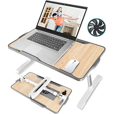 """Laptop Desk for Bed,JZBRAIN Adjustable Laptop Bed Tray with Internal USB Cooling Fan,Portable Foldable Standing Laptop Desk for Working Reading Gaming on Bed Couch Floor,Fits for 17""""Laptop or Smaller"""