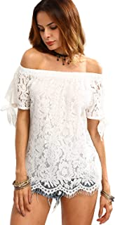 Women's Off The Shoulder Lace Insert Knotted Top Blouse