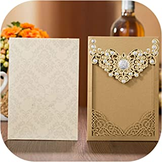 1Pcs Red Gold Laser Cut Crown Wedding Invitations Card Elegant Greeting Cards Customize Envelopes Wedding Party Favor Decoration,Gold Cover and Inner,127 x 185 mm