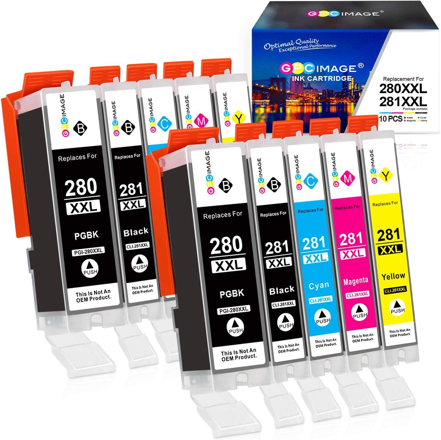 GPC Image Compatible Ink Cartridge Replacement for Canon PGI-280XXL CLI-281XXL 280 XXL CLI 281 XXL fit for PIXMA TS6120 TS6220 TR7520 TR8520 TS8120 TS8220 TS9120 TS9520 TS9521C Printer Tray (10 Pack)