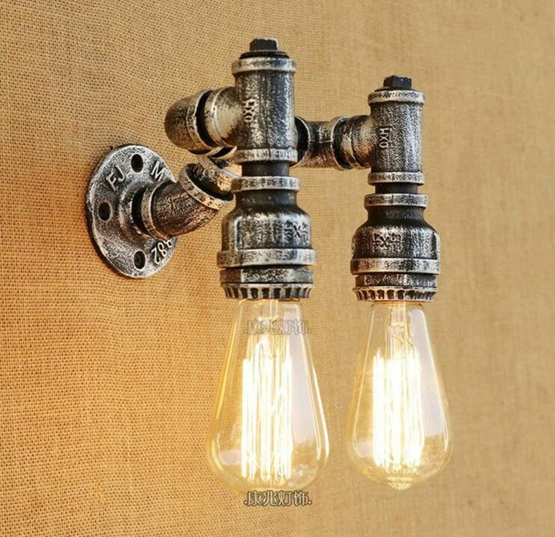 Moderne Wandleuchte Wandleuchte Vintage Eisen Wasserleitung Wandleuchte Leuchte Antike Doppelkopf E27 Wandlaterne Für