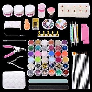 77 in 1 Acrylic Nail Kit Set, Acrylic Powder Glitter Nail Art Kit Professional Manicure Set Nail Tool Kit with Nail Clippe...