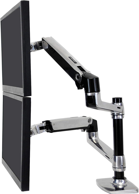 Ergotron LX Stacking Dual Monitor Arm, 13-Inch Pole, Polished Aluminum