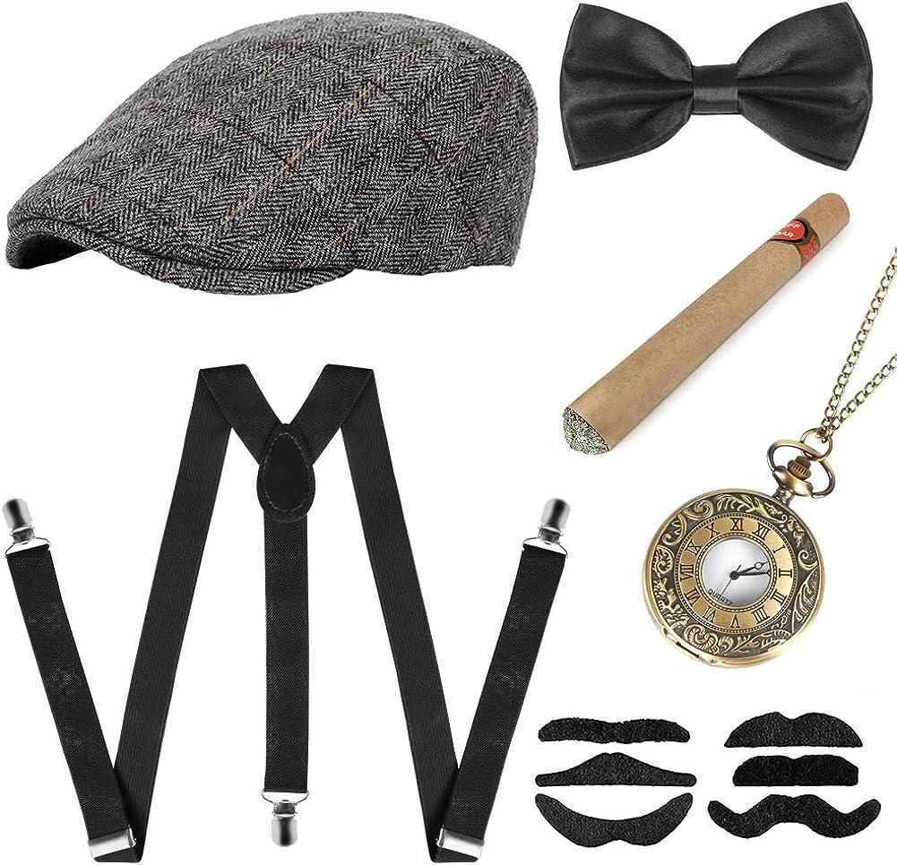 Sinoeem Accesorios para hombre de los años 20, incluye sombrero de Panamá Gangster ajustable, tirantes elásticos, lazo, reloj de bolsillo y puros de plástico.