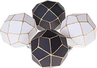 Clever Creations Christmas Ornament Ball Set Black and White with Gold Glitter   4 Pack   Festive Holiday Décor   Geometric Sphere  Classic Design   Shatter Resistant   Hangers Included   75mm