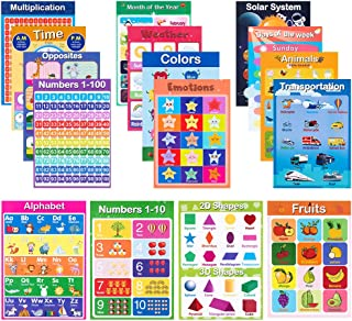 16 Pack Laminated Educational Preschool Posters for Preschool Kids Toddlers for School,Early Learning Chart for Toddles Wall