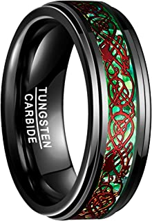 NUNCAD Anello Uomo/Donna/Unisex Dragon Red + Verde + Anello Nero in Tungsteno Souvenir/Anello Anniversario 8mm Taglia (15-...
