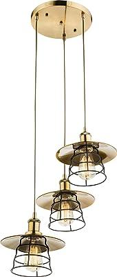 Grande 3-foglia lampada a sospensione a sospensione in ottone nero ufficio Globo VIEJO 15086-3H