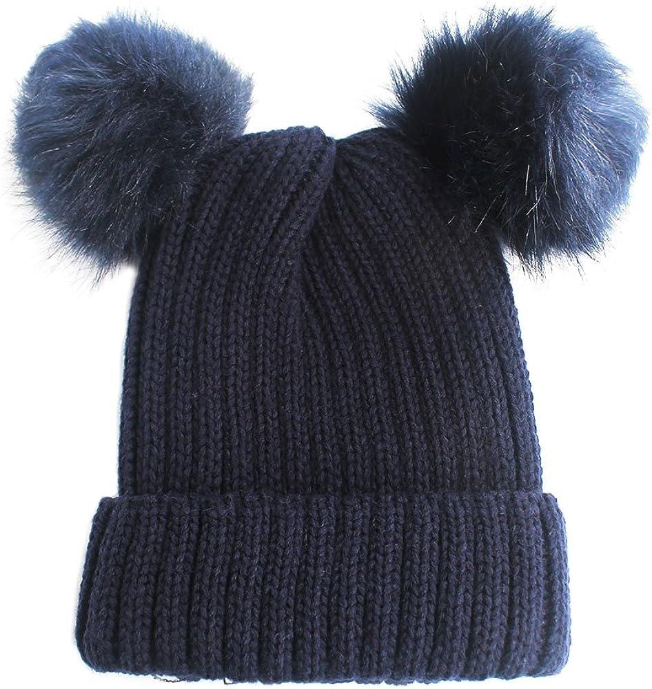 NYFASHION101 Under blast sales Double Direct store Faux Fur Pom Beanie Cable Cuff Knit Hat