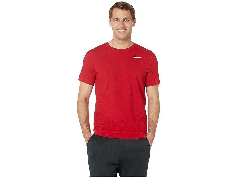 Nike Dry Tee Dri-FITtm Cotton Crew Solid (Gym Red/White) Men