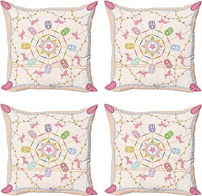 ABAKUHAUS Grande Roue Lot de Housses de Coussin en 4 pièces, Cirque aplaties, Impression Numérique Recto-Verso Moderne, 60 cm x 60 cm, Multicolore