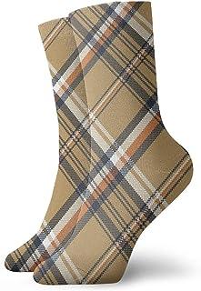 Nifdhkw, Calcetines de Tobillo atléticos de compresión a Media Pierna sin Costuras con patrón de Cuadros Escoceses niño niña