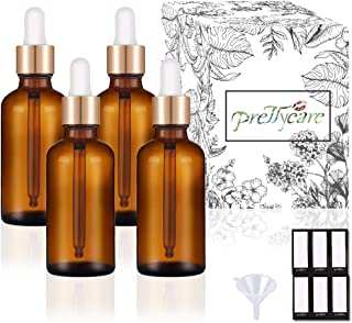PrettyCare Eye Dropper Bottle 1 oz (4 Pack Amber Glass Bottles 30ml with Golden Caps, 12 Labels, Funnel & Measured Pipettes) Empty Tincture Bottles for Essential Oils