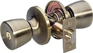 Master Lock TUCO0705 Tulip Knob Double Cylinder Combo Pack Door Knob, Antique Brass