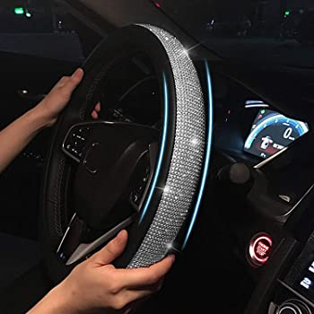 38cm ,Rhinestons Blueshyhall Steering Wheel Cover Leather with Bling Bling Rhinestones Crystals Auto Car for Girls,Lady,Universal Fit 15