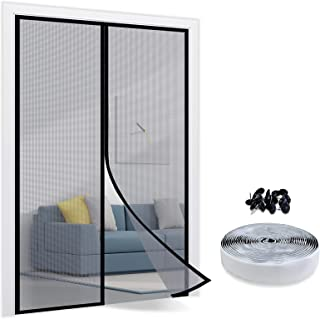 TheFitLife Magnetyczna moskitiera do drzwi – siatka na owady z włókna szklanego z haczykiem i pętlą mocne magnesy zamknięc...