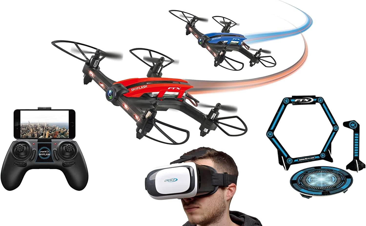 FTX Skyflash FPV Racing Drone, 720P Camera, VR Headset Goggles & Obstacles