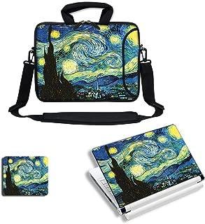 Meffort Inc Laptop Bundle Deal - Includes Neoprene Laptop Bag with Side Pocket Adjust Shoulder Strap with Matching Skin Sticker Decal & Mouse Pad (17.3 Inch, The Starry Night)