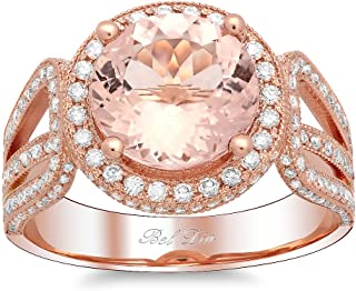 Bel Dia 18k Rose Gold Morganite and Diamond Halo Ring