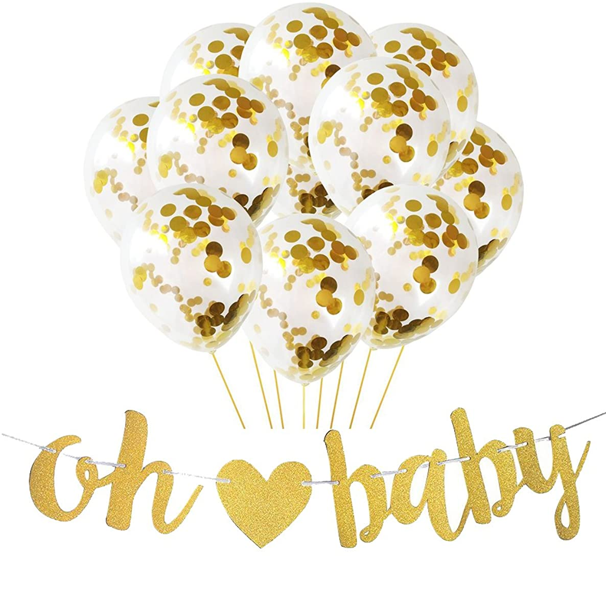 Baby Shower Banner,Sogorge 10pcs Baby Balloons and OH BABY Gold Glitter Banner with Heart for Baby Shower Party Decorations