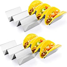 HapWay Taco Holder Stand, 4 Pack Stainless Steel Taco Truck Tray Style, Mexican Food Taco Rack Shells, Safe for Baking, Di...