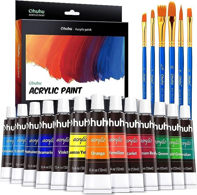 291 opinioni per Ohuhu Basics Colore Acrilico, 24 Colori Acrilic per Pittura con 6 pennelli- Alta