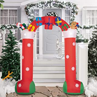 Kinbor 10ft Tall Christmas Inflatable Archway with Gift Boxes and Bear LED Lights Decor Yard Decoration