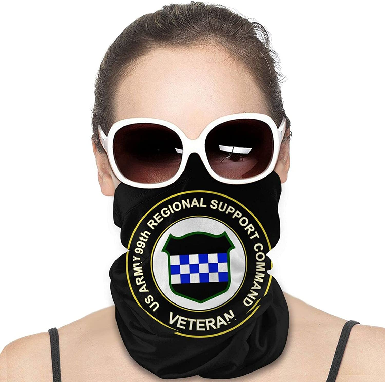 U.S. Army Veteran 99th Regional Support Command Round Neck Gaiter Bandnas Face Cover Uv Protection Prevent bask in Ice Scarf Headbands Perfect for Motorcycle Cycling Running Festival Raves Outdoors